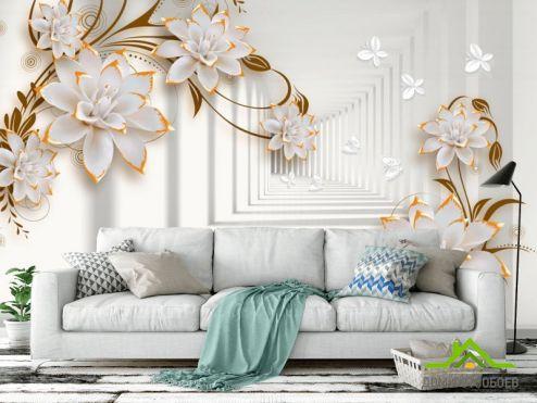 3Д  Фотообои Тонель с керамическими цветами