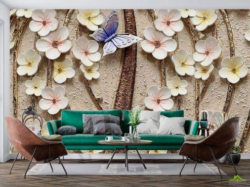 3Д барельеф Фотообои Керамические цветы с бабочкой