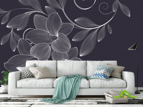 обои Цветы Фотообои Векторные узоры цветы