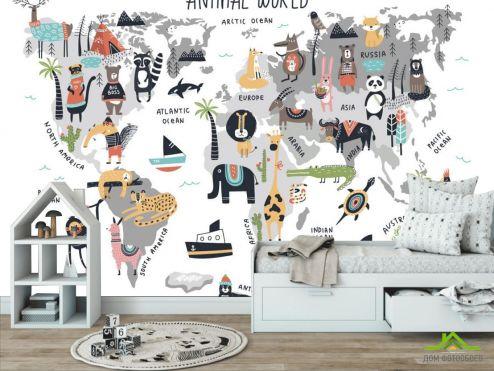 Фотошпалери Little kids Фотошпалери Карта світу з тваринами