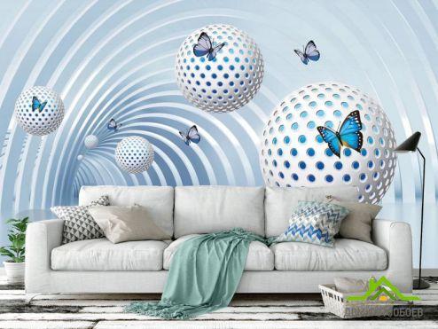Расширяющие пространство Фотообои Сферы с бабочками купить