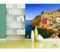 Фотообои красно-желтые дома над морем