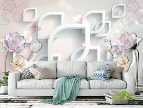 3Д  Фотообои 3д керамические цветы купить