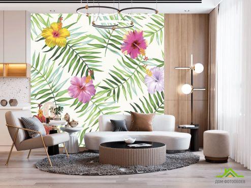 тропические листья Фотообои Листья папоротника и гибискус