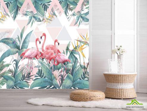 обои Животные Фотообои Фламинго и тропики