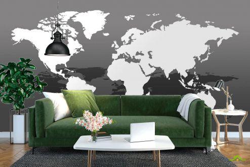 Фотообои карта Мира по выгодной цене Фотообои ЧБ карта