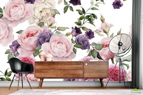 Цветы Фотообои розовые и фиолетовые пионы рисунок