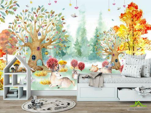 в детскую Фотообои Акварельный лес для детской