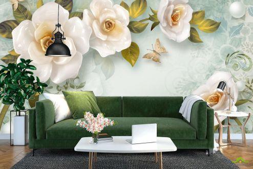 3Д барельеф Фотообои Керамические цветы