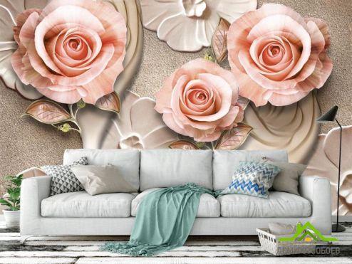 3Д  Фотообои Розы стереоскопические купить