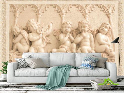 3Д  Фотообои Ангелочки на стене