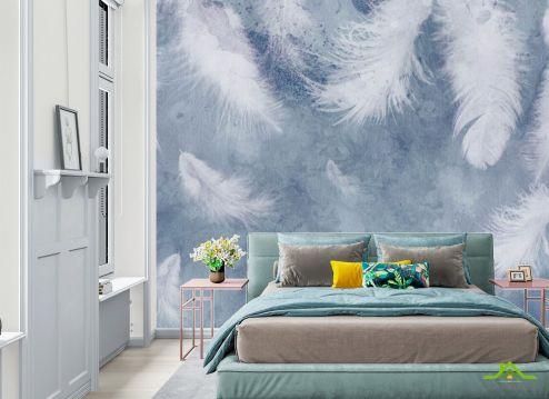 Фотообои в спальню по выгодной цене Фотообои Голубые воздушные перья