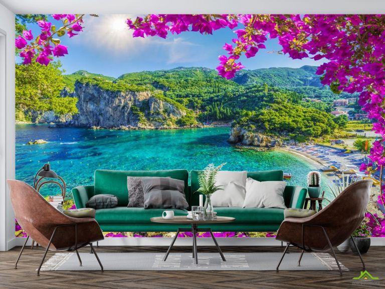 Фотообои вид на гавань через розовые ветки