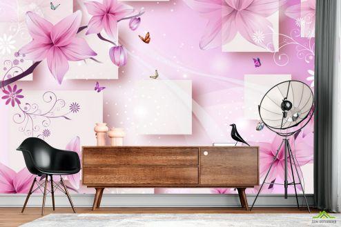 3Д  Фотообои 3д розовые цветы