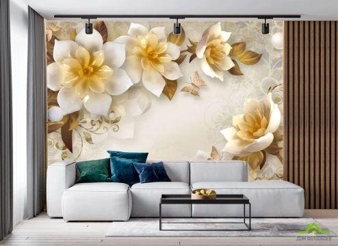 Фотообои в японском стиле по выгодной цене Фотообои Керамические 3д цветы