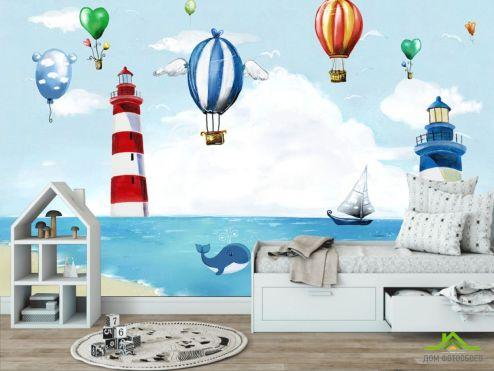 обои в детскую Фотообои Воздушные шары и маяки