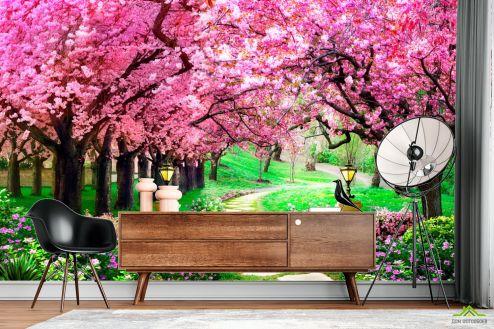 Зеленые  Фотообои Тоннель из розовых деревьев