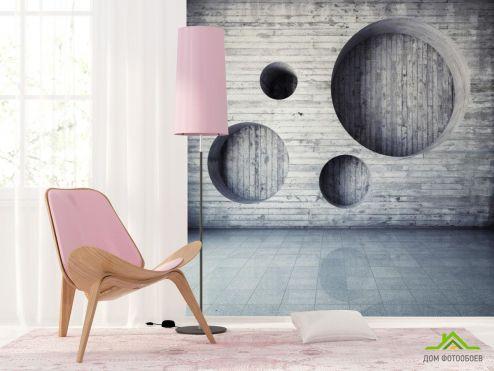 3Д обои Фотообои Серая деревянная стена с кругами