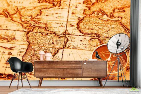 Оранжевые  Фотообои Карта и компас