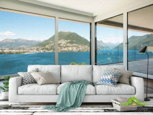 Вид из окна Фотообои Море и остров в окне
