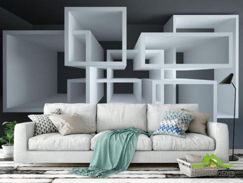 3Д  Фотообои Белые навесные полки