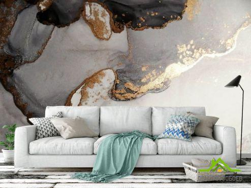 Fluid art Фотообои Флюид чб с золотом