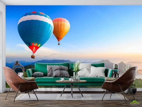 Природа Фотообои воздушные шары над горами
