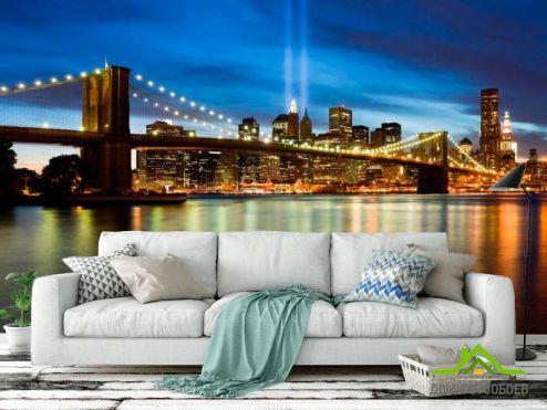 обои Нью Йорк Фотообои Ночной мост Нью Йорк