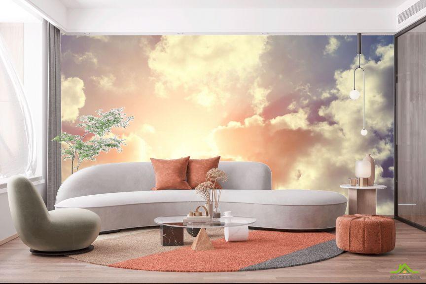 Фотообои сине-оранжевое небо с облаками