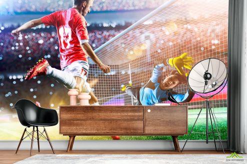 Фотообои Спорт по выгодной цене Фотообои футболисты у ворот