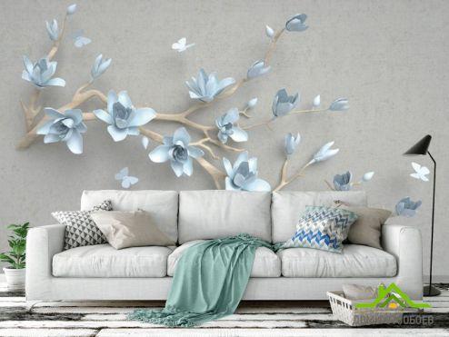3Д  Фотообои Ветка голубых цветов