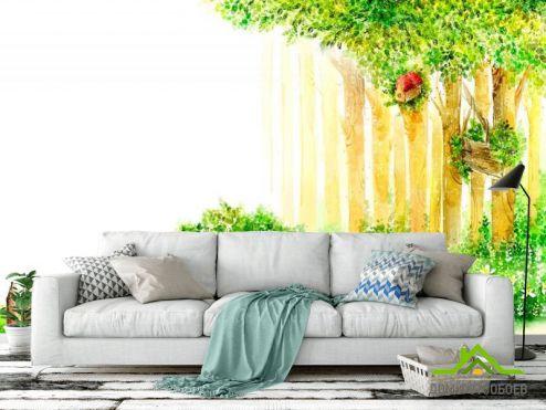 Иллюстрации Фотообои Деревья и забор