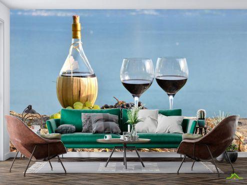 Еда и напитки Фотообои красное вино на берегу