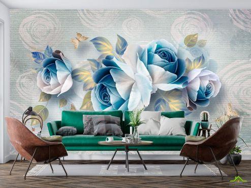 3Д  Фотообои Синие цветы купить