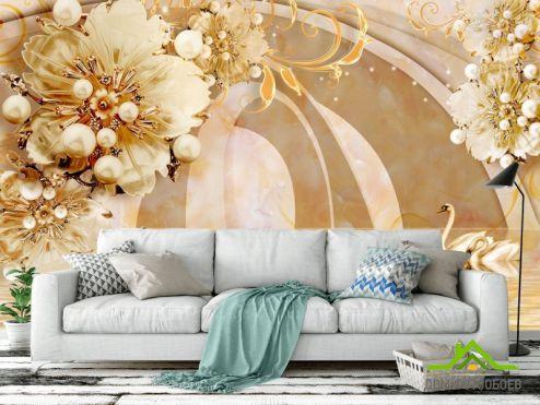 цветы 3d Фотообои  Тонель с золотыми цветами