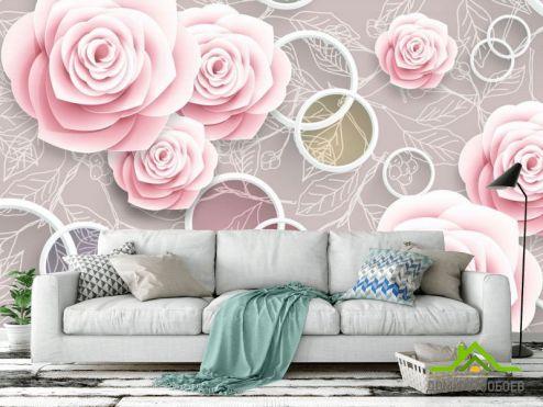 3Д обои Фотообои Розовые 3Д розочки
