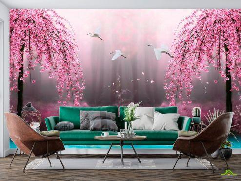 Розовые деревья Фотообои Цветущие деревья