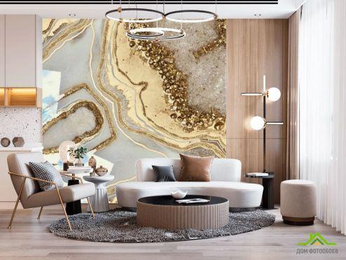 Fluid art Фотообои Золотой флюид с камнями