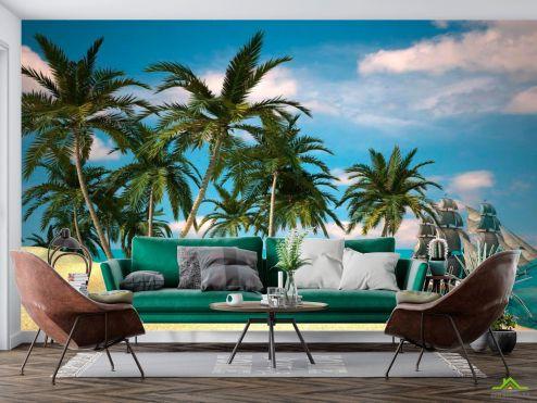 Пальмы Фотообои Пальмы и корабль в море купить