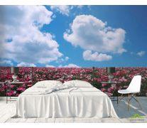 Фотообои Цветы, небо, тучи