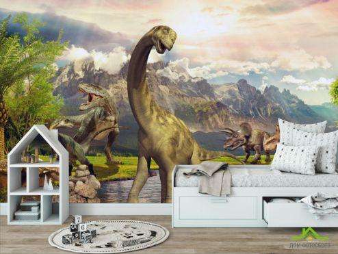 обои в детскую Фотообои Динозавры в природе