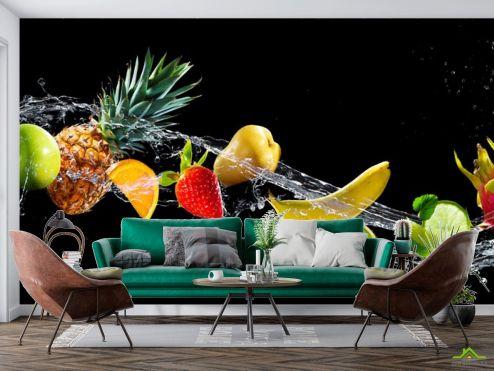Еда и напитки Фотообои фрукты и вода на черном фоне