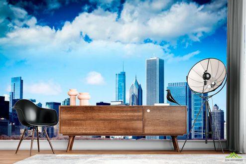 Фотообои Чикаго по выгодной цене Фотообои Тучи, высотки Чикаго
