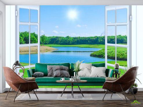 Вид из окна Фотообои озеро за окном