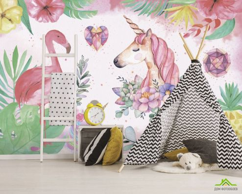 Фотообои для девочек по выгодной цене Фотообои Фламинго детские
