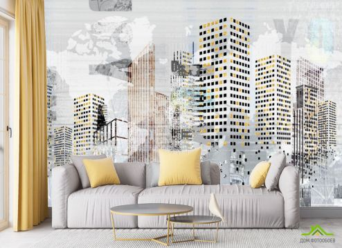 в гостиную Фотообои Город рисованный