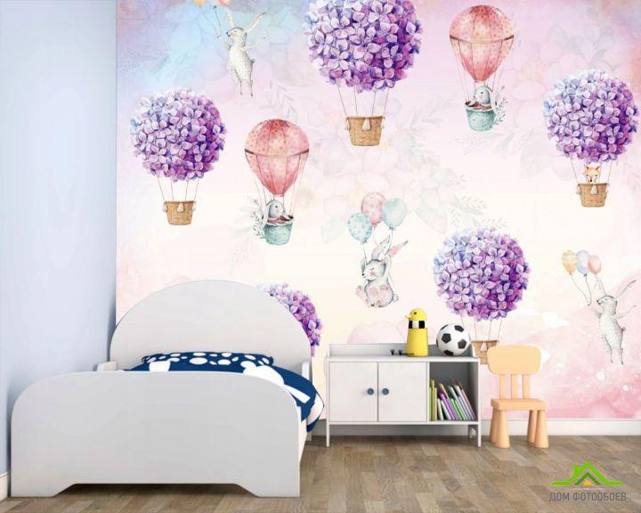 Фотообои Воздушные шары с кроликами