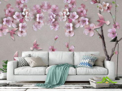 3Д барельеф Фотообои Розовая ветка сакуры
