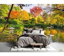 Фотообои осенний лес над озером