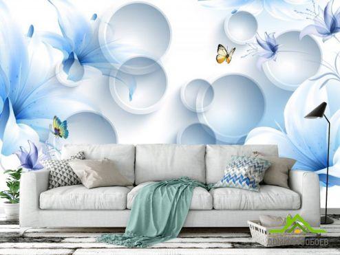 стереоскопические Фотообои  Синие цветы с бабочками